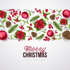 Merry Christmas background. Vector illustration with Christmas elements.