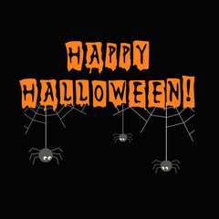 Halloween banner. Black night design with web, spiders and Happy Halloween text. Decorative poster for the party, holiday background, creative flyer, print, graphic element