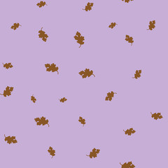 Oak leaf brown seamless pattern color