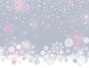 Falling snow border on a light silver grey background. Abstract winter lights blurry background for your Merry Christmas and Happy New Year design. Vector holiday illustration. Place for your text