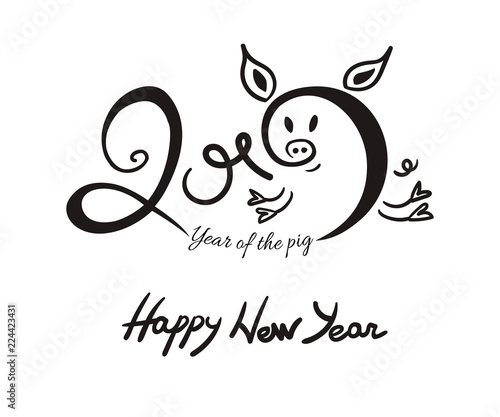 2019 new year lettering with black ink doodle pig isolated on white background vector illustration