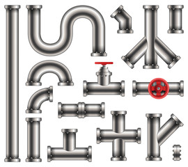 Creative vector illustration of steel metal water, oil, gas pipeline, pipes sewage isolated on transparent background. Art design abstract concept graphic ells, gate valve, fittings, faucet element