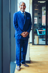 Portrait of smiling senior businessman standing in office