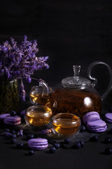 Lavander tea with macarons