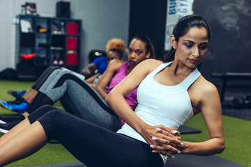 Women exercising in fitness class