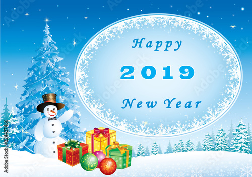 2019 happy new year new year banner with a christmas tree snowman and gifts