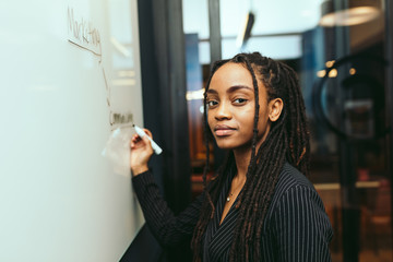 Portrait of young businesswoman writing on whiteboard