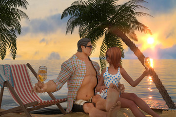 Couple in love by the sea as a symbol of rest and travel 3d render, cartoon character