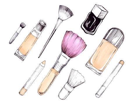 Hand drawn cosmetics set. Nail polish, mascara, eye shadows, brush, powder, lip gloss