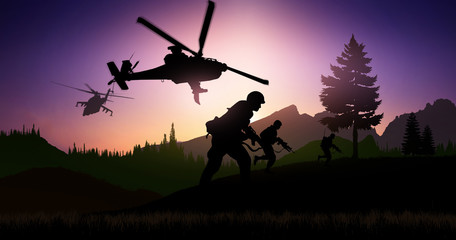 Helicopters and soldiers in action