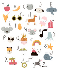 Cute kids alphabet with hand drawn animals and other elements. Vector illustration.