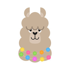 Cute simple llama head vector illustration. Beige llama, alpaca head, face with ears, eyes and nose. Fluffy llama animal with colorful pom poms around neck, isolated.