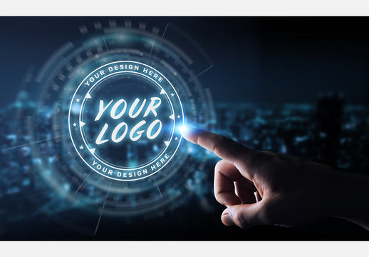 Finger Touching Digital Logo Branding Interface Mockup