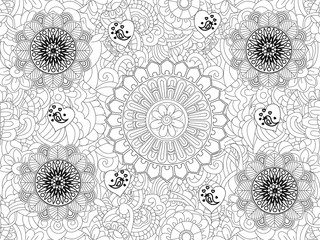 Raster Monochrome Floral Pattern. Hand Drawn Floral Texture, Decorative Flowers, Coloring Book