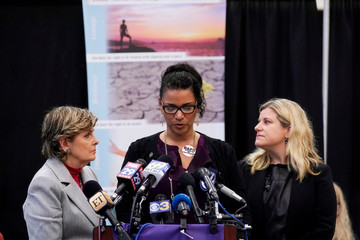 Women who have accused actor and comedian Bill Cosby of sexual assault speak at a news conference following his sentencing in Norristown, Pennsylvania