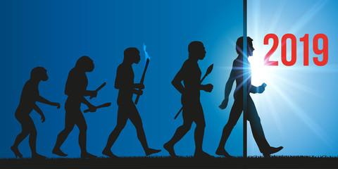 Carte de voeux 2019 sur le thème de l'évolution de l'humanité jusqu'a l'invention du smartphone