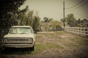 Vintage american pick up truck in vintage style landscape