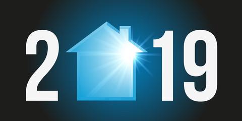 Carte de voeux 2019 montrant la silhouette d'une maison à la place du zéro pour symboliser un programme immobilier pour l'acquisition d'un logement.