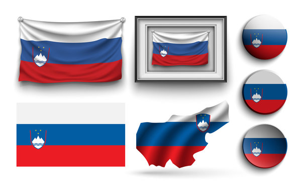 set of slovenia flags collection isolated