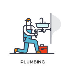 Plumber repairs and installs the sink