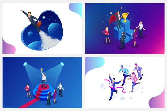 Isometric design for business startup web banner. Start up. Income and success. Digital transformation. Technology Future. Businessman in space, concept for creativity, imagination, innovation