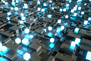 3d rendering, luminescent squares and dark background