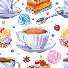 Seamless pattern of cups and sweets on a white background, watercolor illustration. Tea, coffee, candy, cakes marshmallows, hand-drawing.
