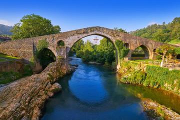 Cangas de Onis roman bridge in Asturias Spain
