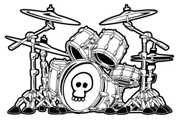 Rock Drum Set Cartoon Vector Illustration