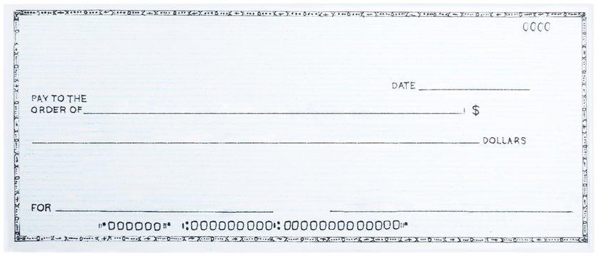 Blank White Cheque