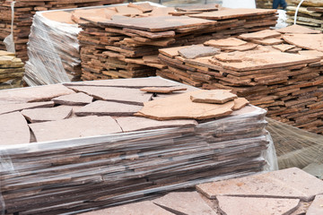 Sale of natural stone for cladding and construction.