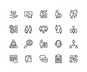 Simple Set of Business managment Related Vector Line Icons. Contains such Icons as One-on-One Meeting, Support, Business Communication, Team Structure and more. Editable Stroke. 48x48 Pixel Perfect.