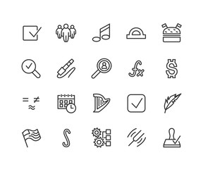 Simple Set of Web Related Vector Line Icons. Contains such Icons as Approve, flag, function, Note, Harp and more. Editable Stroke. 48x48 Pixel Perfect.