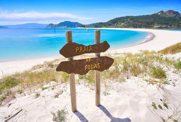 Fototapete - Praia de Rodas beach sign islas Cies island Vigo
