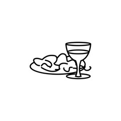 salad with glass of wine icon. Element of fast food for mobile concept and web apps icon. Thin line icon for website design and development, app development