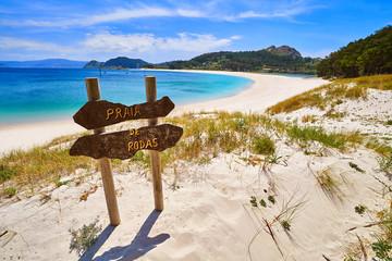 Wall Mural - Praia de Rodas beach sign in islas Cies island Vigo