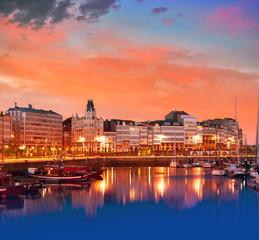 Keuken foto achterwand Havana La Coruna sunset port marina in Galicia Spain