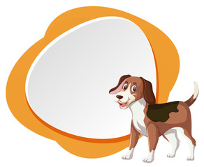 Beagle dog on blank banner