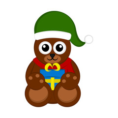 Canvas Prints Owls cartoon Christmas bear character holding a present