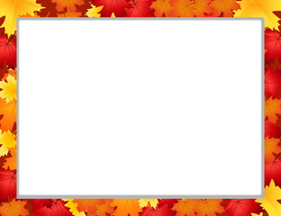 Vector photo frame with fallen autumn maple leaves on white background with copy space