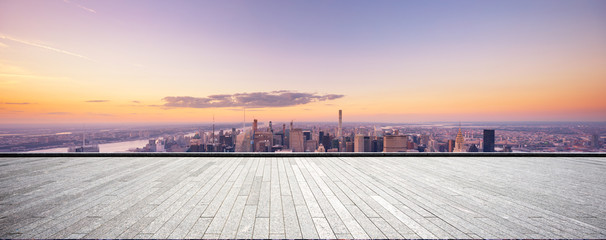 Fotomurales - empty floor with modern cityscape in new york