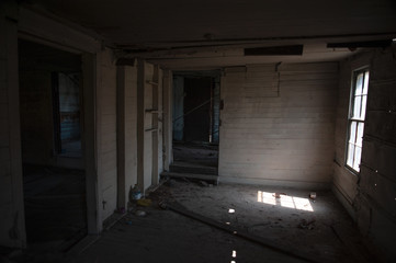 The interior of an abandoned old house