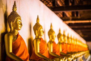 The Golden Buddha is lined up at Wat Phutthaisawan, Phra Nakhon Si Ayutthaya, the worship of Buddhism in Thailand, the great archaeological site of Thailand,Is a Buddhist mind sticker.