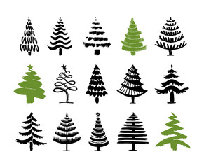 Hand drawn christmas tree set isolated on a white background. Ink vector illustration. Modern brush calligraphy.