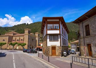 Potes village facades in Cantabria Spain