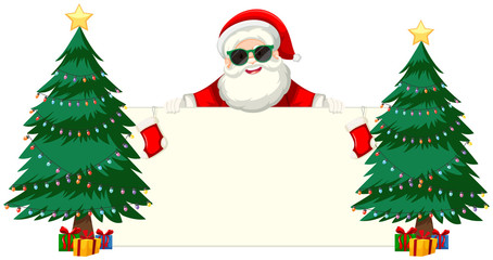 Santa with sunglasses holding blank frame