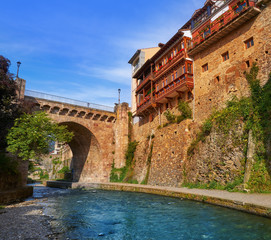 Potes river Quiviesa Deva a Cantabria village Spain