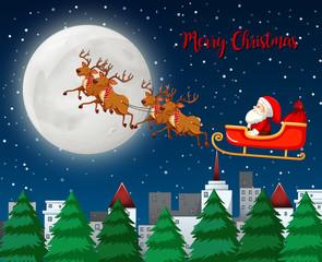 Merry Christmas santa sleigh with reindeer