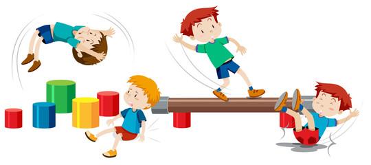 Boys playing on playground equipment