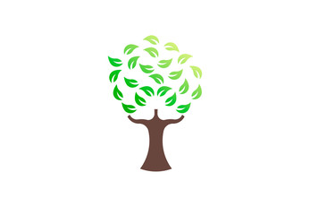Green tree environmental, vector logo